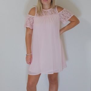 Blue rain pink  dress